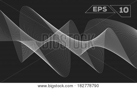 abstract monochrome wave isolated on transparent background
