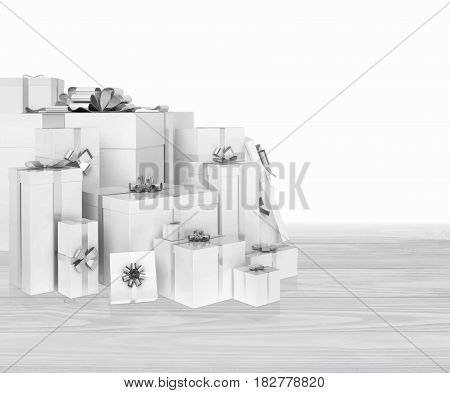 Group of presents located on a wooden background. Gift boxes with silver ribbons. 3D illustration