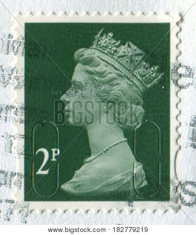GOMEL, BELARUS, APRIL 20, 2017. Stamp printed in UK shows image of  The Elizabeth II has been Queen of the United Kingdom, Canada, Australia, and New Zealand, circa 2011.