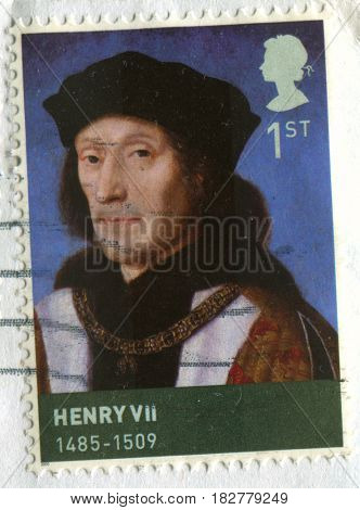 GOMEL, BELARUS, APRIL 20, 2017. Stamp printed in UK shows image of  The Henry VII (28 January 1457 - 21 April 1509) was King of England, circa 2000.