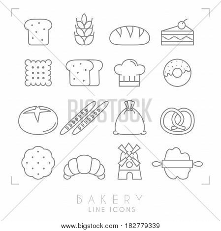 Set of line bakery icons. Flat style. Bread slice wheat bun cake with cherry biscuit chef heat donut baguette flour sack pretzel croissant wind mill pastry and rolling-pin