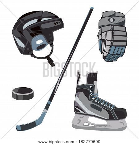 Vector hockey icons set in flat style. Ice equipment collection, puck, stick, helmet, gloves, skates. Sport gear, accessories design for clubs, leagues etc.