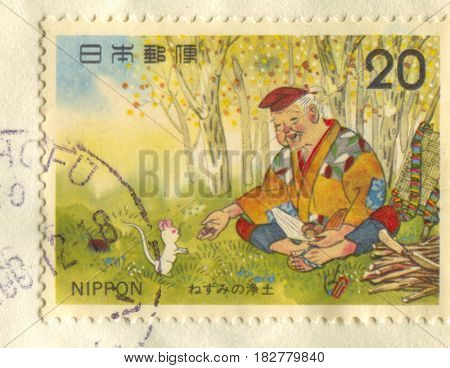 GOMEL, BELARUS, APRIL 20, 2017. Stamp printed in Japan shows image of  The Daikokuten, the god of great darkness , or the god of five cereals, is one of the Seven Lucky Gods (Fukujin), circa 2000.