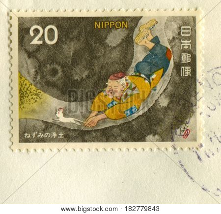 GOMEL, BELARUS, APRIL 21, 2017. Stamp printed in Japan shows image of  The Daikokuten, the god of great darkness or blackness, or the god of five cereals, is one of the Seven Lucky Gods (Fukujin).