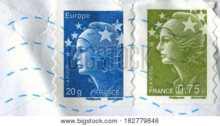 GOMEL, BELARUS, APRIL 21, 2017. Stamp printed in France shows image of  The Girl of Beaujard, circa 2004.