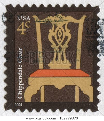 GOMEL, BELARUS, APRIL 21, 2017. Stamp printed in USA shows image of  The Chippendale Chair, circa 2004.