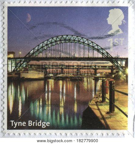 GOMEL, BELARUS, APRIL 21, 2017. Stamp printed in UK shows image of  The Tyne Bridge, circa 2000.
