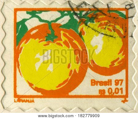 GOMEL, BELARUS, APRIL 21, 2017. Stamp printed in Brazil shows image of  The Orange, circa 1997.