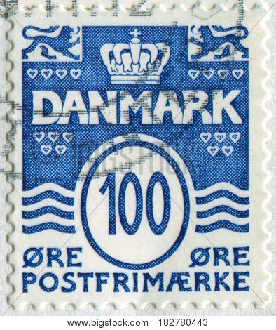 GOMEL, BELARUS, APRIL 21, 2017. Stamp printed in Denmark shows image of  The Postage Stamp, circa 2000.