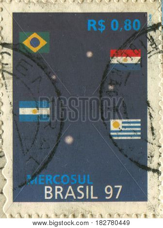 GOMEL, BELARUS, APRIL 21, 2017. Stamp printed in Brazil shows image of  The Mercosur or Mercosul is a sub-regional bloc, circa 1997.