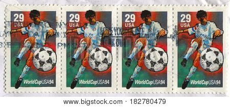 GOMEL, BELARUS, APRIL 21, 2017. Stamp printed in USA shows image of  The 1994 FIFA World Cup was the 15th FIFA World Cup, circa 1994.