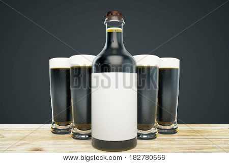 Close up of dark beer bottle with blank label and full glasses on black background. Ad concept. Mock up 3D Rendering