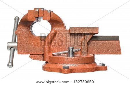 Orange hand vise tool. Isolated on white background.