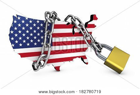 USA national security concept with US flag map icon locked with a chain and padlock 3D illustration on white background.