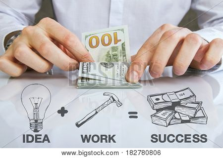 Close up of man's hands counting dollar bills on desktop with drawn lamp hammer and money. Success concept