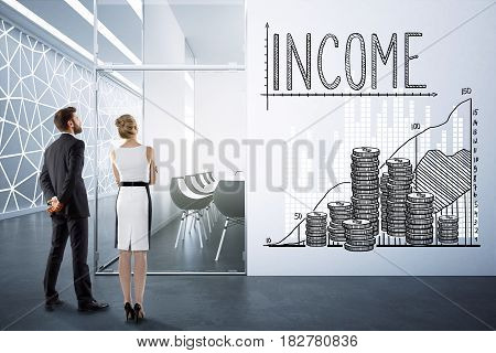 Back view of young businesspeople in modern conference room interior with money chart on wall. Income concept. 3D Rendering