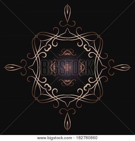 Abstract symmetrical ornate openwork pattern of interwoven gold color lines Round vector vintage thin frame for your design.
