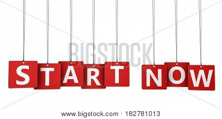 Start now sign and word on red paper tags 3D illustration.