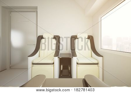Front view of modern luxury train seats and window wity city view. Travel concept. 3D Rendering