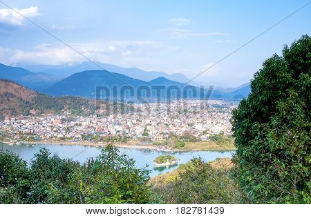 View of Pokhara and lake Phewa Nepal