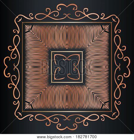 Beautiful ornate antique frame vintage braided symmetrical pattern on black background in antique rococo style decorative design