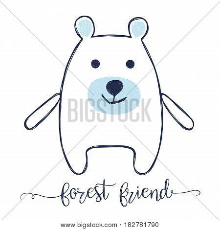 cute cartoon bear hand drawn doodle sketch illustration for baby tee print