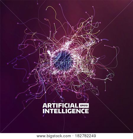 artificial intelligence vector background. Turbulence flow trail. Futuristic ai illustration for web
