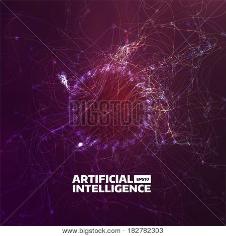 artificial intelligence vector illustration. Turbulence flow trail. Futuristic background for web