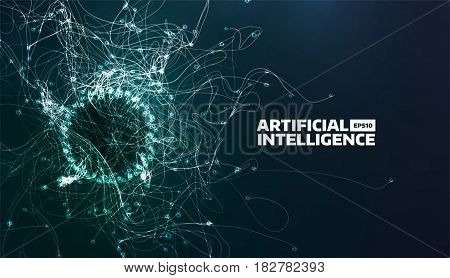 artificial intelligence vector illustration. Turbulence flow trail. Futuristic science background for banner. Organic structure