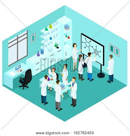 Isometric biological science laboratory template with group of working scientists furniture and scientific equipment vector illustration