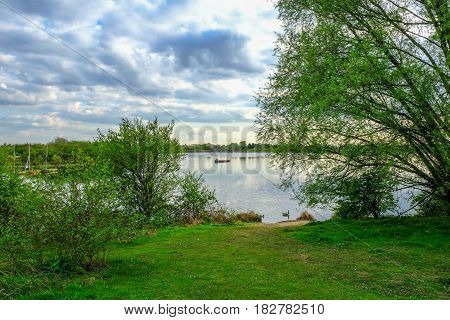 Lake view with sail boats in spring in Essex.
