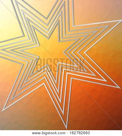 Tile background with outline cropped star on triangle area in orange design