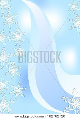 Fine winter background with snowflakes and blue stripes