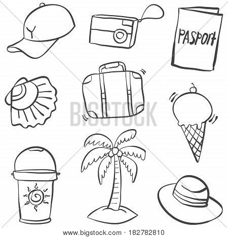Doodle of summer object illustration collection stock