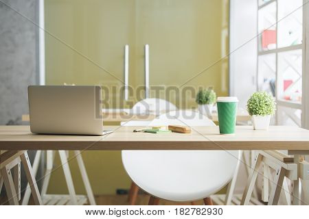 Front view of creative designer desktop with open laptop takeaway coffee cup plant supplies other items and daylight