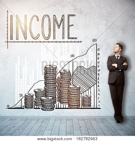 Thoughtful young man in interior with creative money chart sketch on wall. Income concept