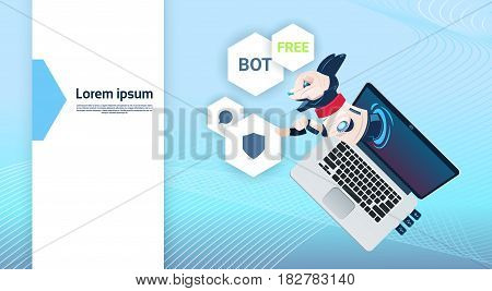 Chat Bot Free Robot Virtual Assistance Of Website Or Mobile Applications, Artificial Intelligence Concept Flat Vector Illustration