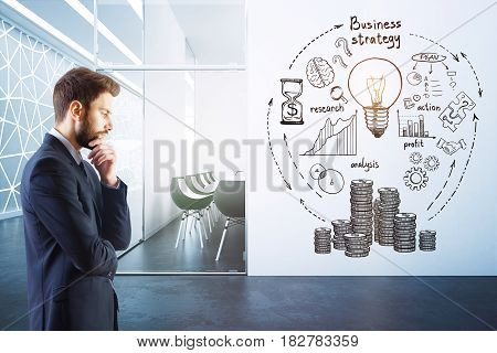 Thoughtful businessman in modern conference room interior with business sketch on wall. Money concept. 3D Rendering