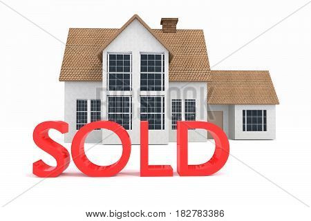 3D Rendering Of A House With Sold Sign