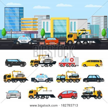 Car evacuation elements concept with tow trucks in different situations police ambulance and  city transport isolated vector illustration