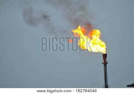 gas flaring at a gas plant in petroleum plant