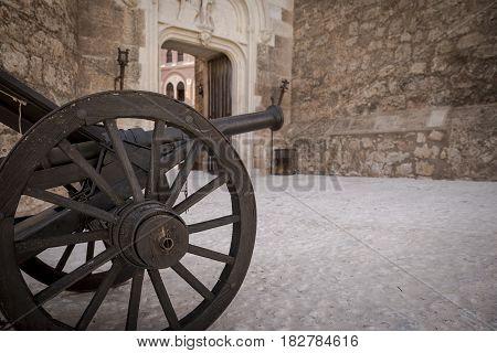 Ancient cannon inside Belmonte Castle, province of Cuenca, Castilla La Mancha, Spain