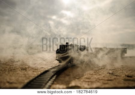 Steam Train In A Open Countryside Concept.