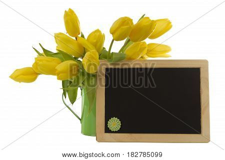 Beautiful flowers and blank blackboard isolated on white background