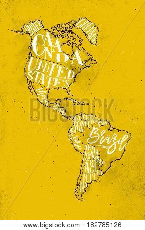 Vintage America map with country inscription united states canada mexico brasil peru argentina drawing on yellow background