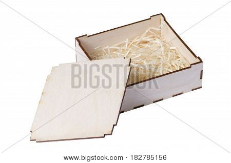 Wooden small box isolated on white background isolation