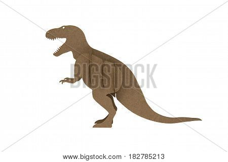 tyrannosaur Rex made out of cardboard. paper dinosaur toy isolated on white background