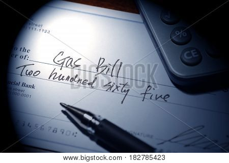 Fake cheque cheque for Natural Gas Bill financial concept.