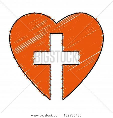 christian cross with heart isolated icon vector illustration design
