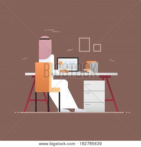 Arab Business Man Using Laptop Computer Back Rear View Muslim Entrepreneur In Modern Office Flat Vector Illustration